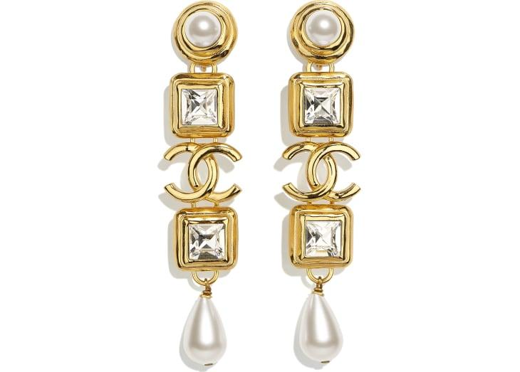 image 1 - Boucles d'oreilles clip - Métal, perles de verre, perles d'imitation & strass - Doré, blanc nacré & cristal