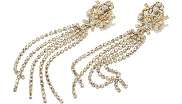 image 2 - Clip-on Earrings - Metal, Glass Pearls & Strass - Gold, Pearly White & Crystal