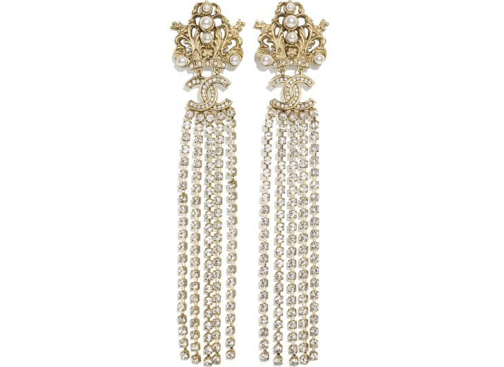 image 1 - Clip-on Earrings - Metal, Glass Pearls & Strass - Gold, Pearly White & Crystal