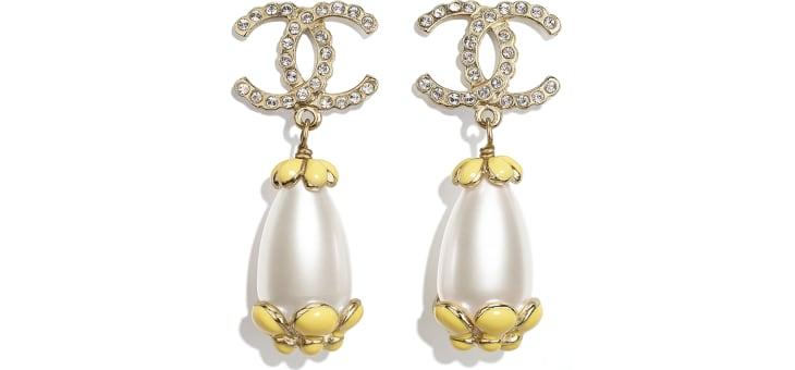 image 1 - Boucles d'oreilles clip - Métal, strass & résine - Doré, blanc nacré, cristal & jaune