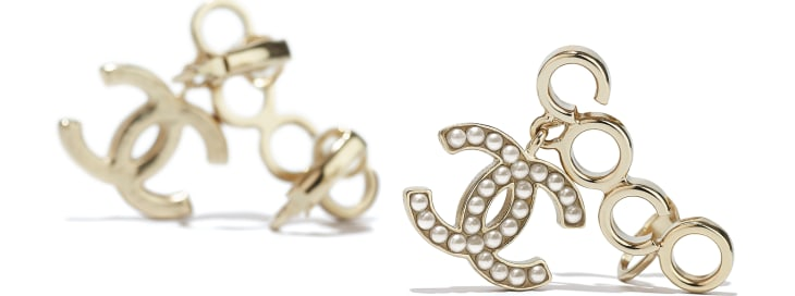 image 2 - Clip-on Earrings - Metal & Glass Pearls - Gold & Pearly White