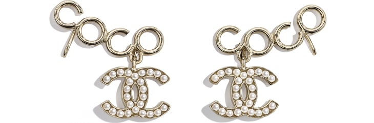 image 1 - Clip-On Earrings - Metal & Glass Pearls - Gold & Pearly White
