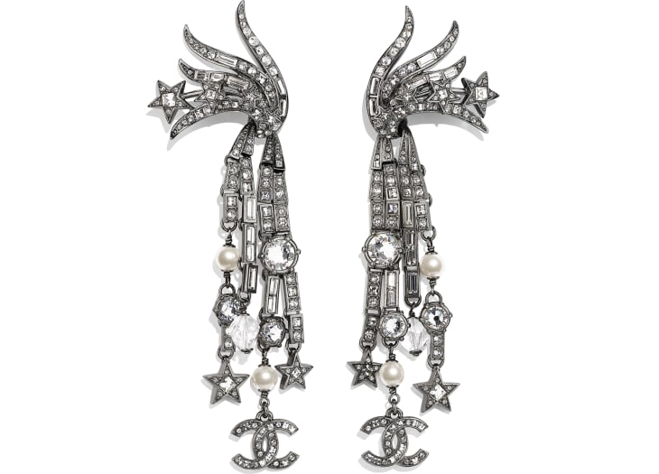 image 1 - Clip-on Earrings - Metal, Glass Pearls, Glass & Strass - Ruthenium, Pearly White & Crystal
