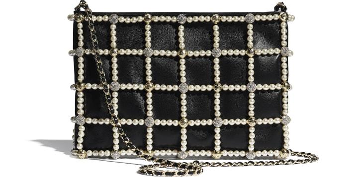 image 1 - クラッチ バッグ - ラムスキン、カーフスキン、コスチューム パール、ストラス & ゴールド メタル - ブラック