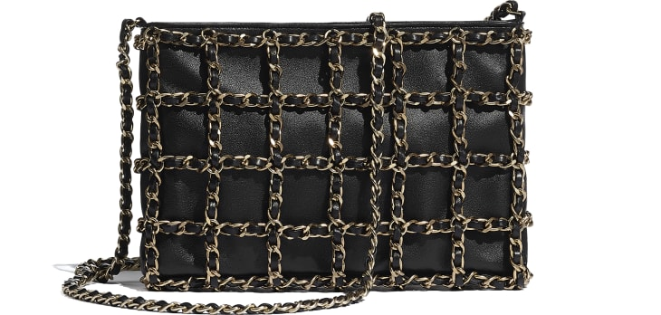 image 2 - Clutch - Lambskin & Gold Metal  - Black