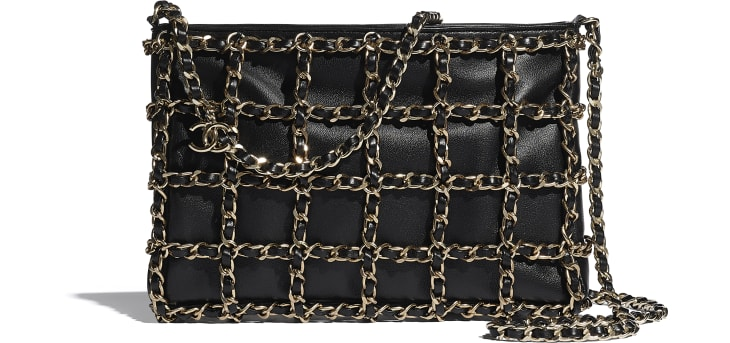image 1 - Clutch - Lambskin & Gold Metal  - Black