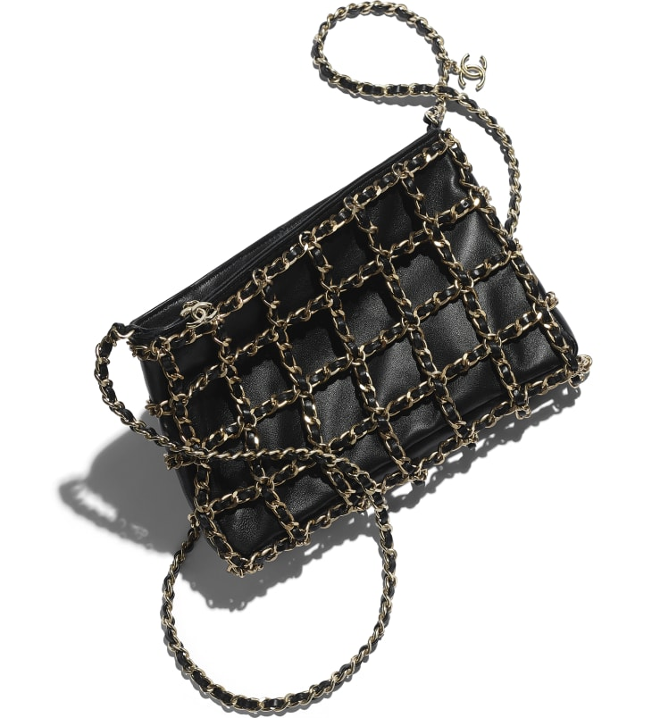 image 4 - Clutch - Lambskin & Gold Metal  - Black