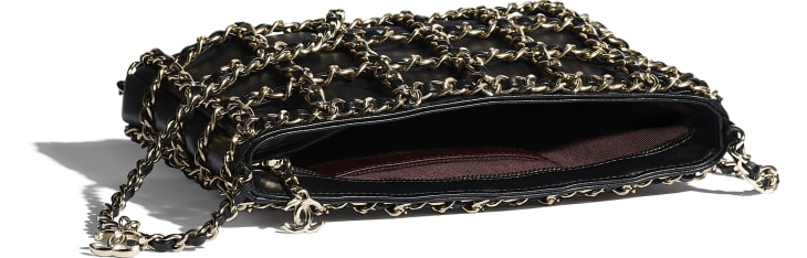 image 3 - Clutch - Lambskin & Gold Metal  - Black