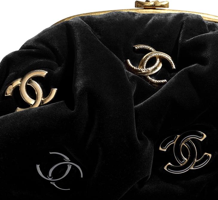 image 4 - Sac pochette - Velours, métal noir & doré - Noir