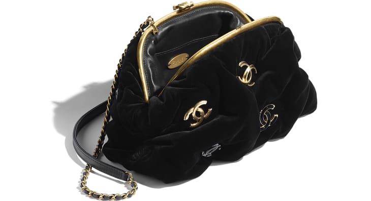 image 3 - Sac pochette - Velours, métal noir & doré - Noir