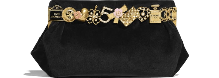 image 1 - Clutch - Velvet, Brass, Charms & Gold-Tone Metal - Black