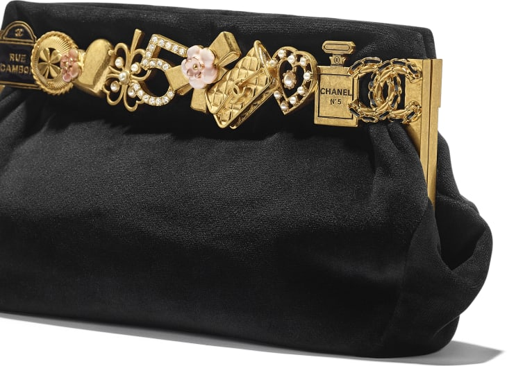 image 4 - Clutch - Velvet, Brass, Charms & Gold-Tone Metal - Black