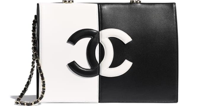 image 1 - Clutch - Lambskin & Gold-Tone Metal - White & Black