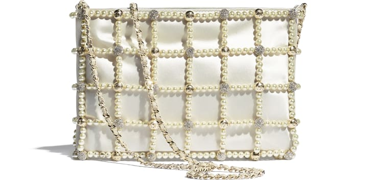 image 2 - Clutch - Satin, Glass Pearls, Strass & Gold-Tone Metal - White