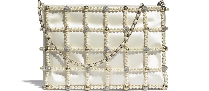 image 1 - Clutch - Satin, Glass Pearls, Strass & Gold-Tone Metal - White