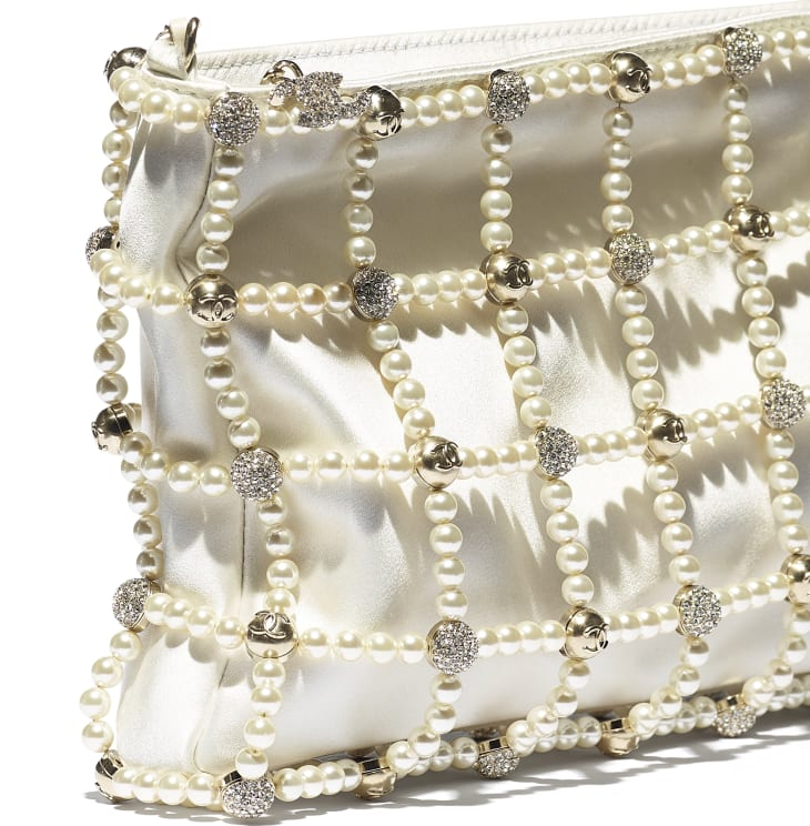 image 4 - Clutch - Satin, Glass Pearls, Strass & Gold-Tone Metal - White
