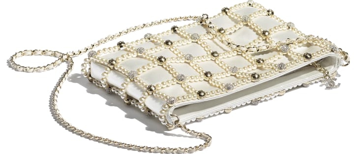 image 3 - Clutch - Satin, Glass Pearls, Strass & Gold-Tone Metal - White