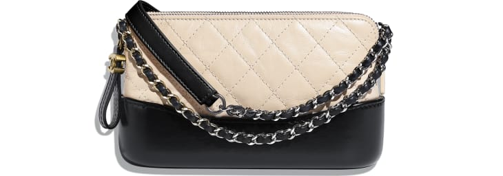 image 1 - Clutch with Chain - Aged Calfskin, Smooth Calfskin, Gold-Tone, Silver-Tone & Ruthenium-Finish Metal - Beige & Black