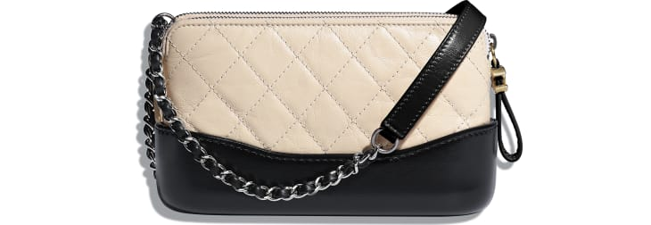 image 2 - Clutch with Chain - Aged Calfskin, Smooth Calfskin, Gold-Tone, Silver-Tone & Ruthenium-Finish Metal - Beige & Black