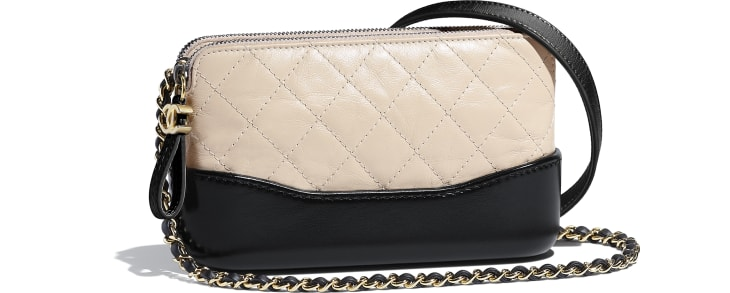image 3 - Clutch with Chain - Aged Calfskin, Smooth Calfskin, Gold-Tone, Silver-Tone & Ruthenium-Finish Metal - Beige & Black