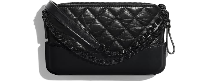 image 2 - Clutch with Chain - Aged Calfskin, Smooth Calfskin & Black Metal - Black