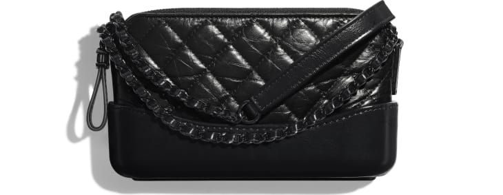 image 1 - Clutch with Chain - Aged Calfskin, Smooth Calfskin & Black Metal - Black