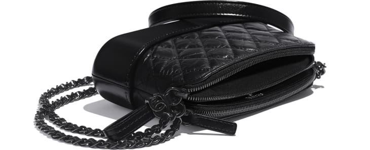 image 4 - Clutch with Chain - Aged Calfskin, Smooth Calfskin & Black Metal - Black