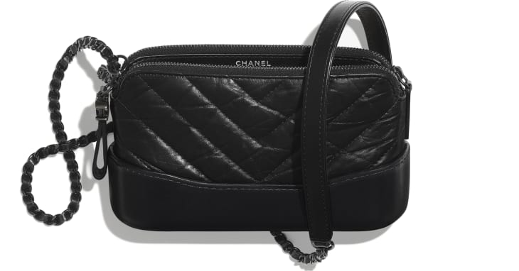 image 3 - Clutch with Chain - Aged Calfskin, Smooth Calfskin & Black Metal - Black