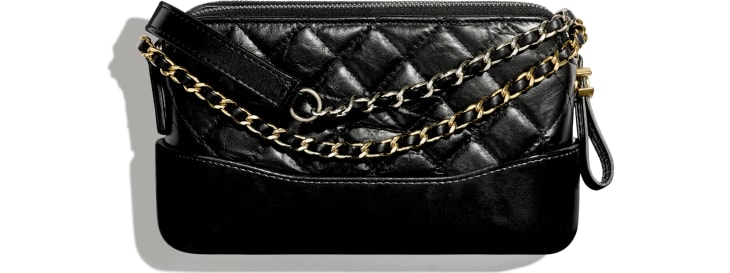 image 2 - Clutch with Chain - Aged Calfskin, Smooth Calfskin, Gold-Tone, Silver-Tone & Ruthenium-Finish Metal - Black