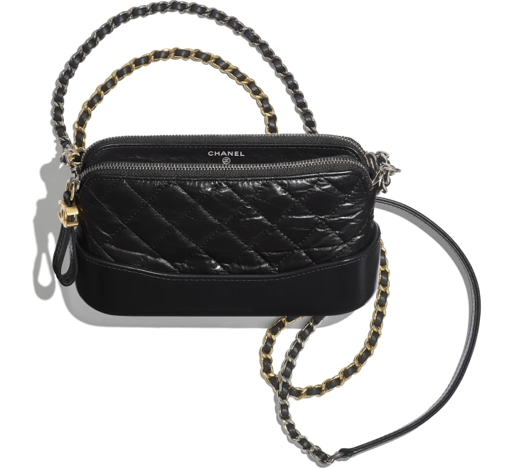image 3 - Clutch with Chain - Aged Calfskin, Smooth Calfskin, Gold-Tone, Silver-Tone & Ruthenium-Finish Metal - Black