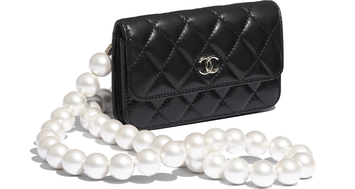 image 4 - Clutch with Chain - Calfskin, Imitation Pearls & Gold-Tone Metal - Black