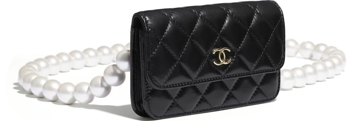 image 3 - Clutch with Chain - Calfskin, Imitation Pearls & Gold-Tone Metal - Black