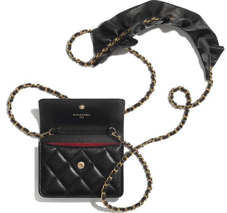 image 2 - Clutch With Chain - Lambskin - Black
