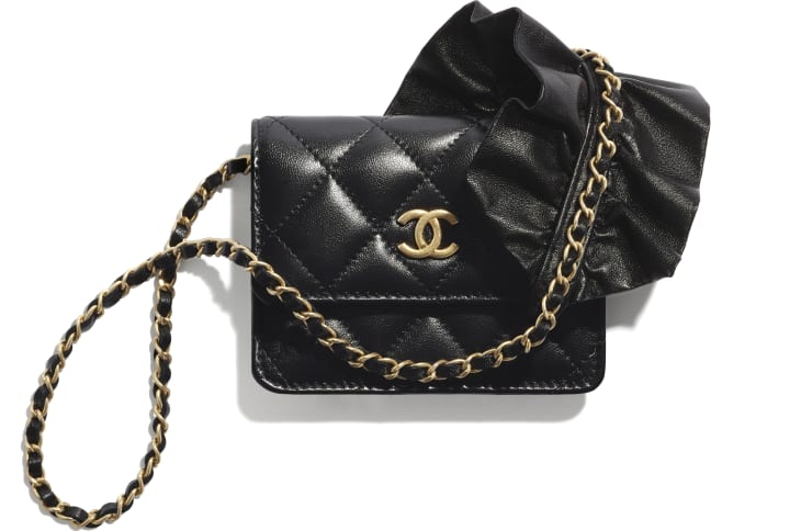image 1 - Clutch With Chain - Lambskin - Black