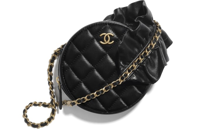 image 1 - Clutch with Chain - Lambskin & Gold-Tone Metal - Black