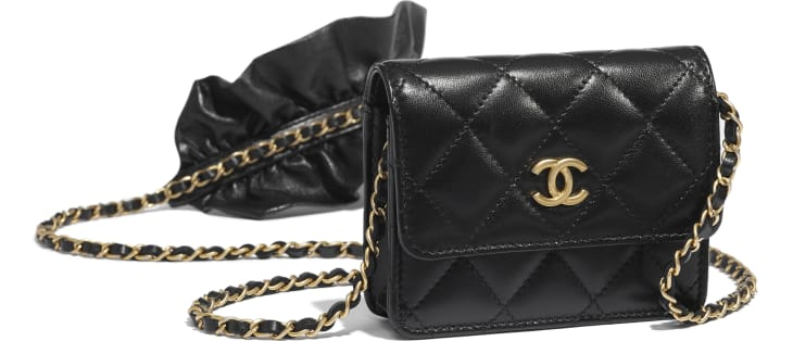 image 4 - Clutch With Chain - Lambskin - Black