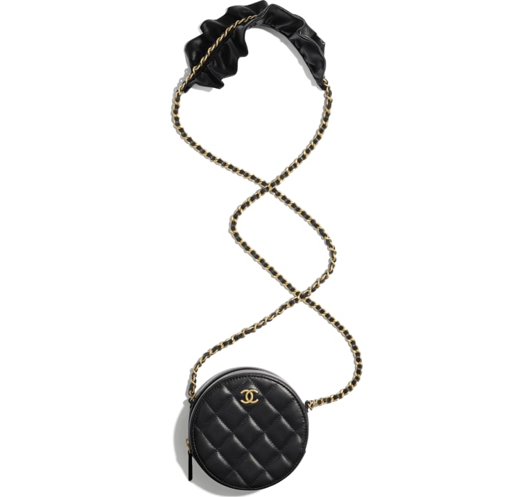 image 4 - Clutch with Chain - Lambskin & Gold-Tone Metal - Black