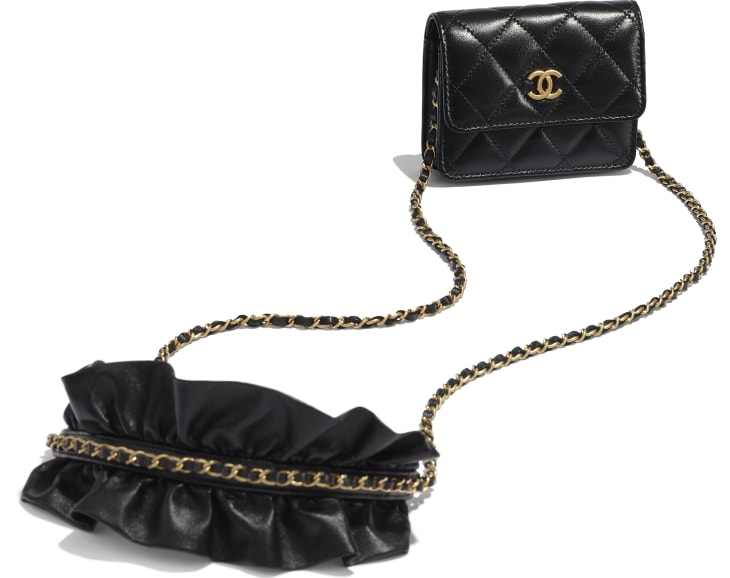 image 3 - Clutch With Chain - Lambskin - Black