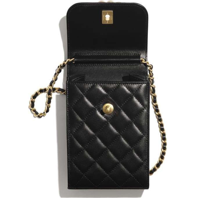 image 2 - Clutch with Chain - Lambskin, Imitation Pearls & Gold-Tone Metal - Black