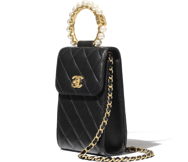image 3 - Clutch with Chain - Lambskin, Imitation Pearls & Gold-Tone Metal - Black