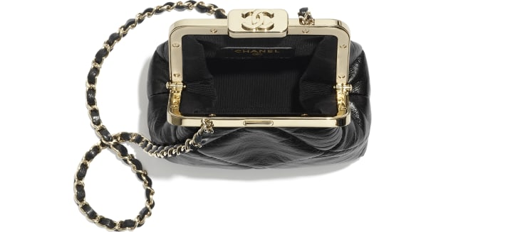 image 2 - Clutch with Chain - Shiny Aged Lambskin & Gold-Tone Metal  - Black