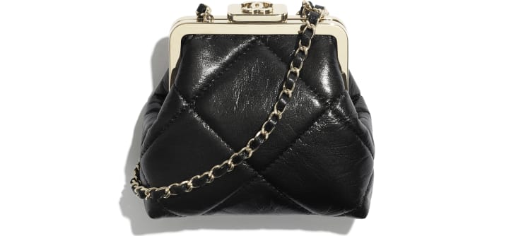 image 1 - Clutch with Chain - Shiny Aged Lambskin & Gold-Tone Metal  - Black