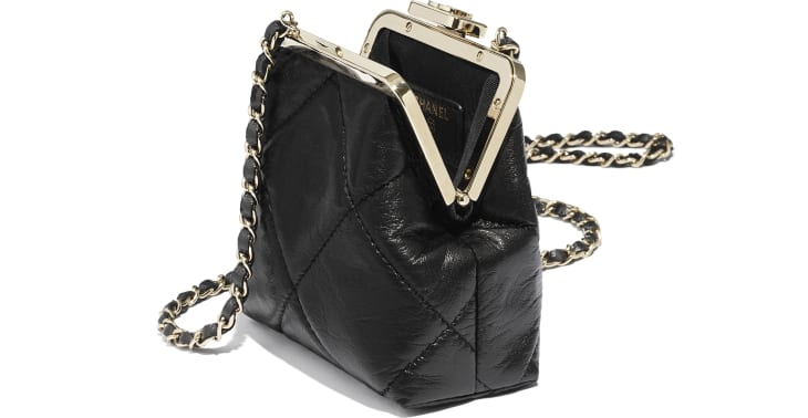 image 3 - Clutch with Chain - Shiny Aged Lambskin & Gold-Tone Metal  - Black