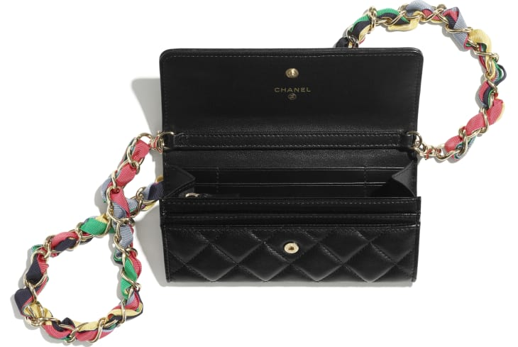 image 2 - Clutch with Chain - Shiny Lambskin, Ribbon & Gold-Tone Metal - Black