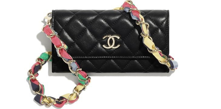 image 1 - Clutch with Chain - Shiny Lambskin, Ribbon & Gold-Tone Metal - Black