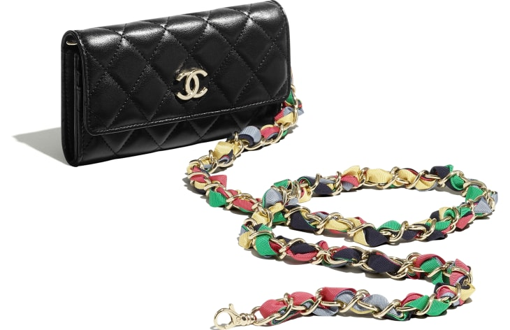 image 4 - Clutch with Chain - Shiny Lambskin, Ribbon & Gold-Tone Metal - Black