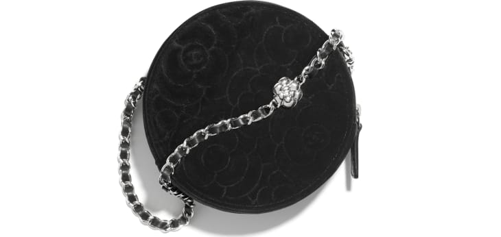 image 2 - Clutch with Chain - Velvet & Silver-Tone Metal - Black
