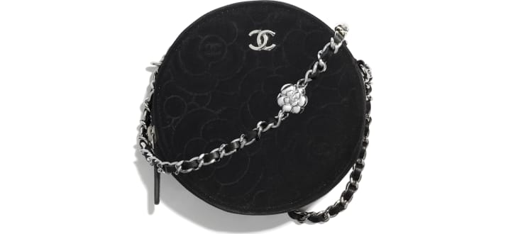 image 1 - Clutch With Chain - Velvet & Silver-Tone Metal - Black