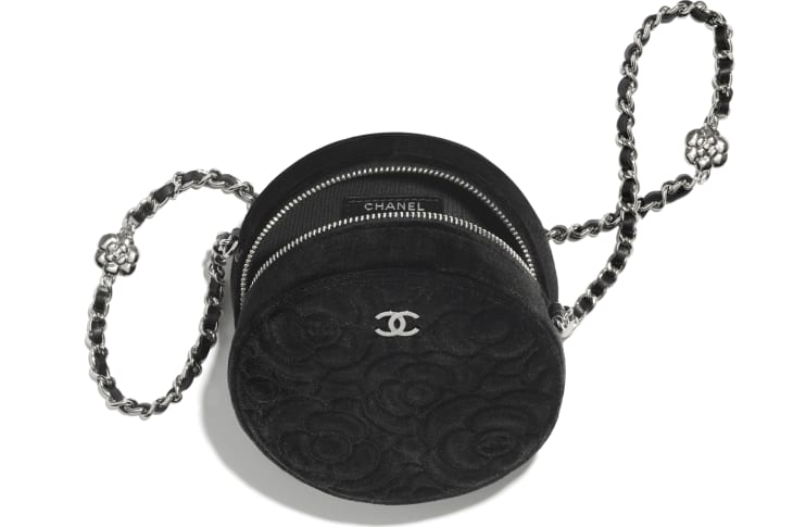 image 3 - Clutch With Chain - Velvet & Silver-Tone Metal - Black