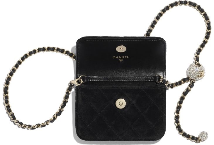 image 2 - Clutch with Chain - Velvet, Strass & Gold-Tone Metal - Black